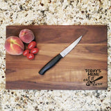 "Today's Menu - Engraved Walnut Cutting Board (11"" x 16"") - Hailey Home"
