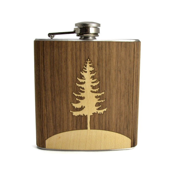 Tree Design Wood-Wrapped Flask - Hailey Home