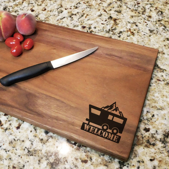 Welcome Camper - Engraved Walnut Cutting Board (11