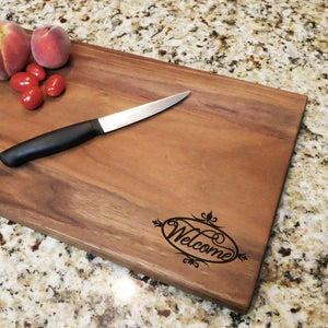 "Welcome Decorative - Engraved Walnut Cutting Board (11"" x 16"") - Hailey Home"