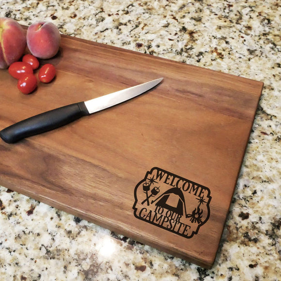 Welcome To Our Campsite - Engraved Walnut Cutting Board (11