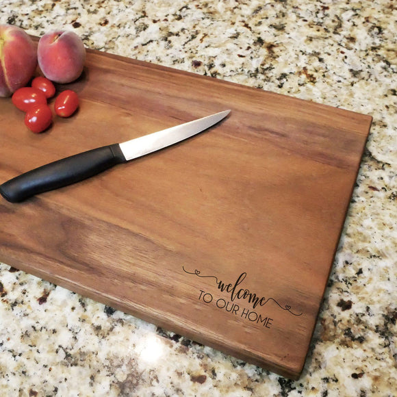 Welcome To Our Home Cursive - Engraved Walnut Cutting Board (11