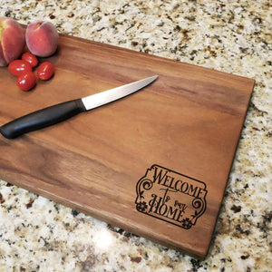 "Welcome To Our Home - Engraved Walnut Cutting Board (11"" x 16"") - Hailey Home"