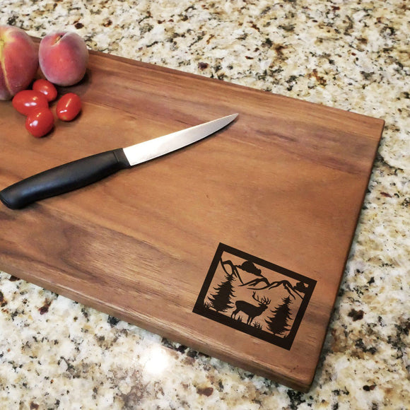 Wildlife Scene - Engraved Walnut Cutting Board (11