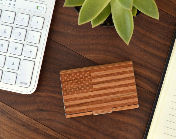 Wooden Business Card Holder - American Flag - Hailey Home