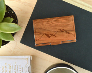 Wooden Business Card Holder - Mountains - Hailey Home