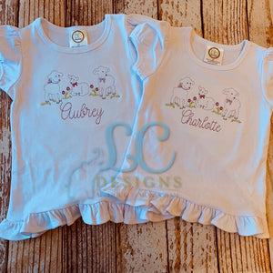 Lambs embroidery top