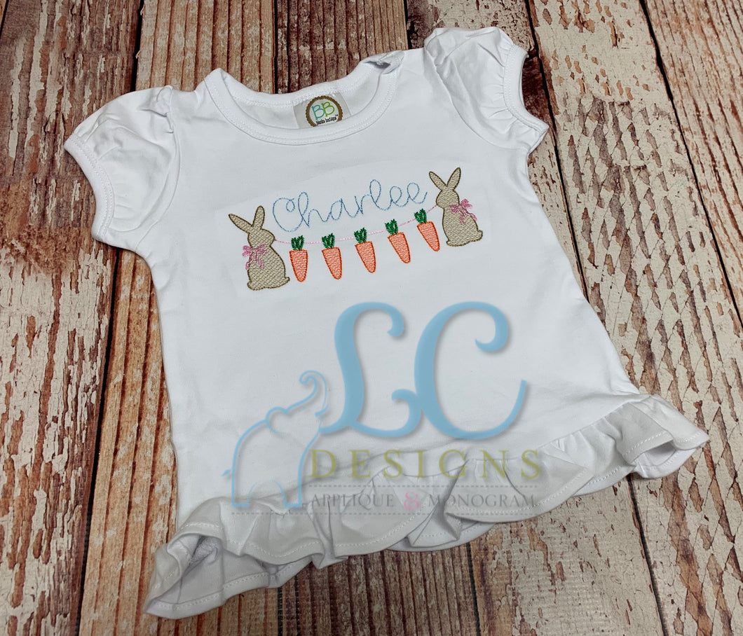 Girl Bunny with Carrot Banner Embroidery Top