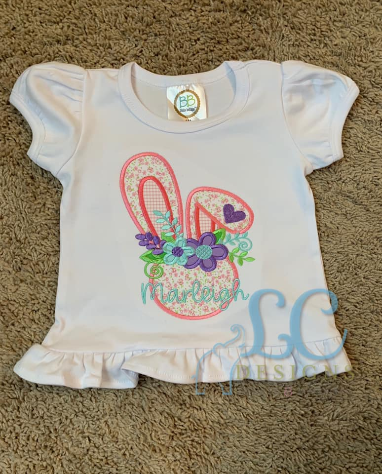 Floppy Girl Bunny Head with Flowers Applique Top