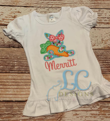 Girl Bunny with a Carrott Applique Top