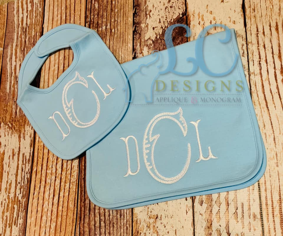 Monogram burp cloth and bib - open fishtail