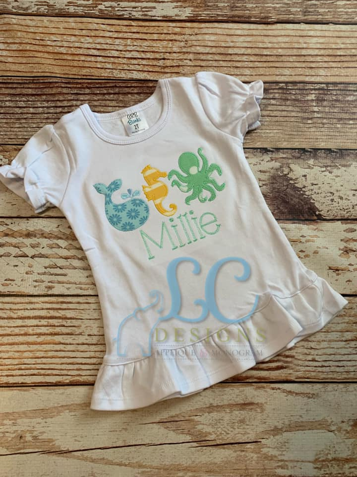 Sea Animals Applique Top