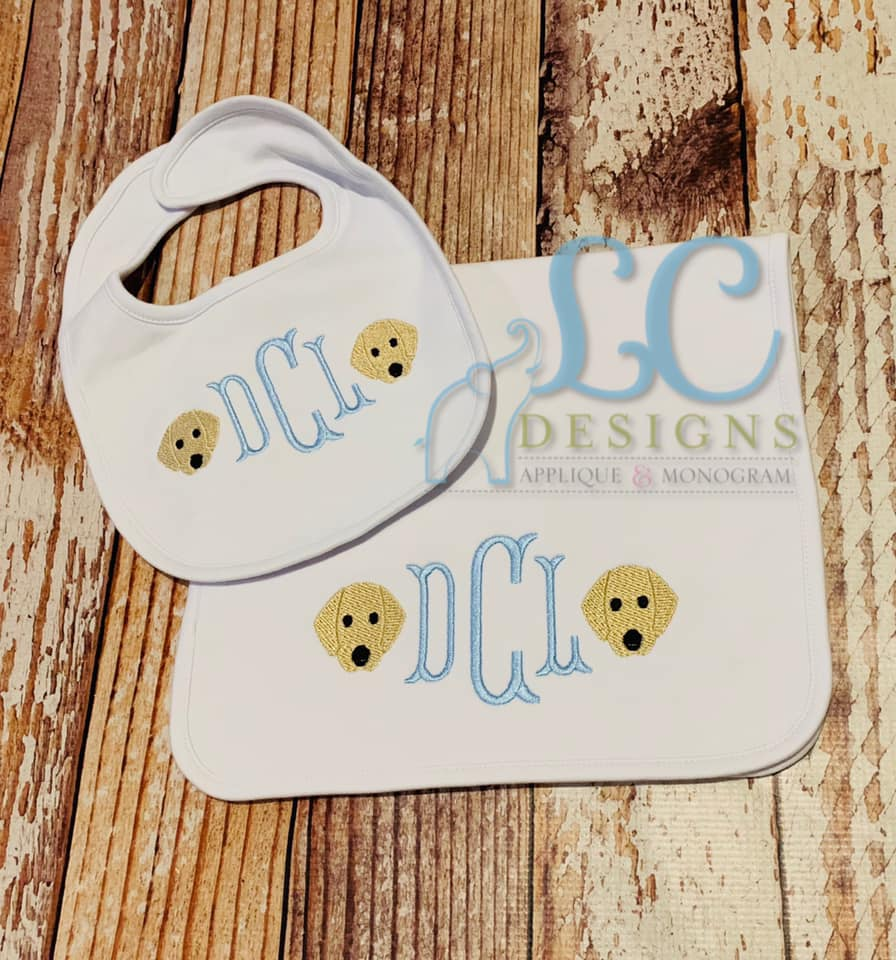 Monogram burp cloth and bib - Puppies