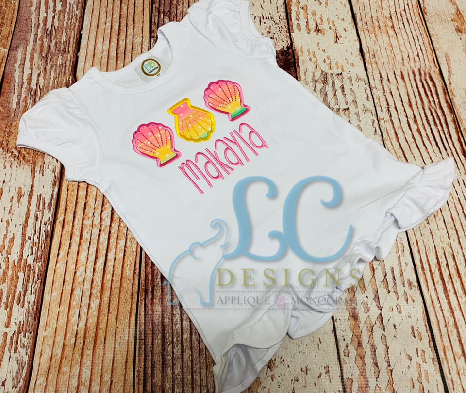 Shell trio Applique Top