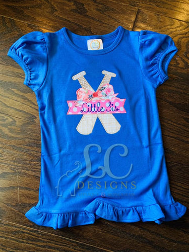 Baseball Sister Applique Top