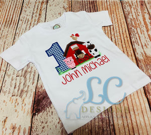 First Birthday Farm Applique Top