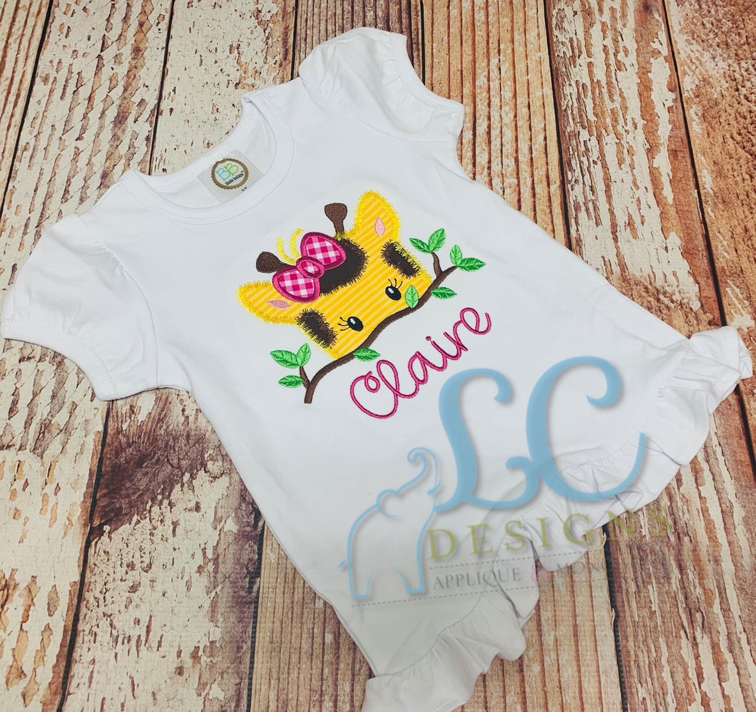 Girl Giraffe Applique Top