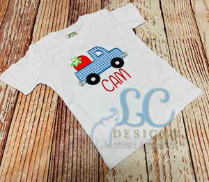Boys Strawberry Truck Applique Top