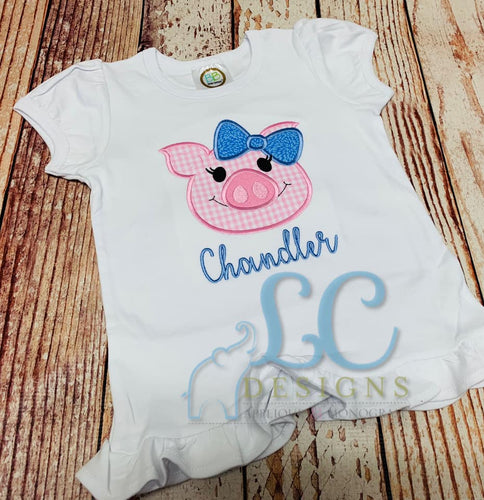 Girl Pig Face Applique design