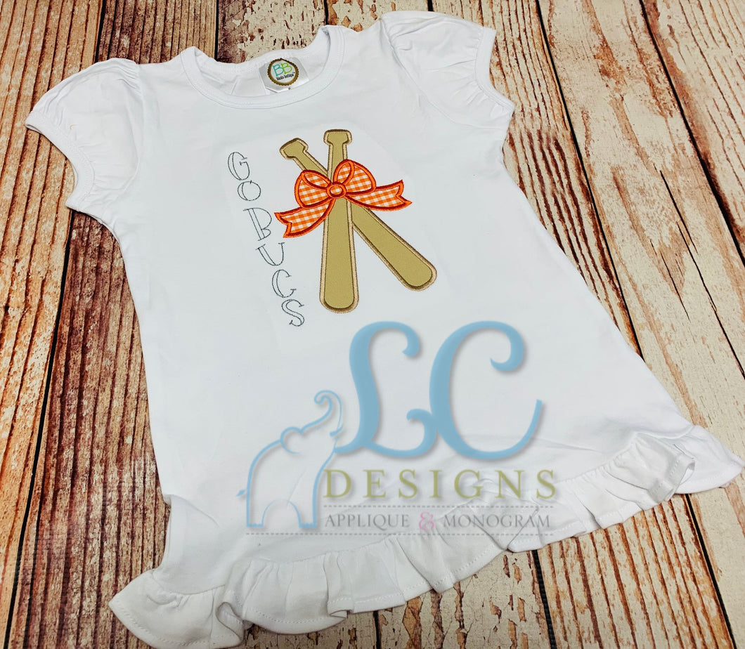 Baseball Bats with Bow applique top