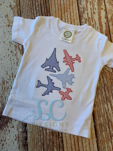 Airplane Silhouette Applique Top