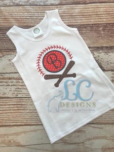 Baseball Monogram Applique Top