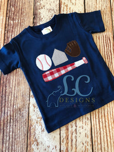 Baseball Theme Applique Top