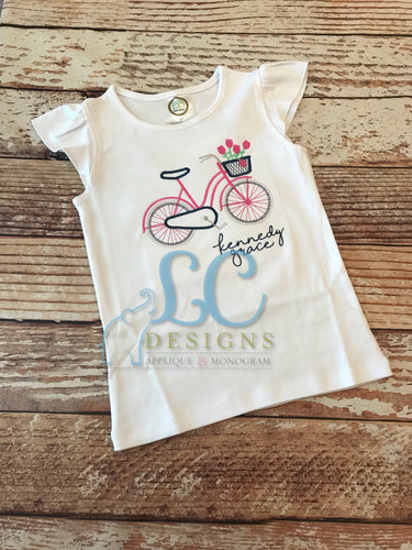 Bike with Flowers Embroidery Top