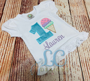 Birthday Ice Cream Applique Top