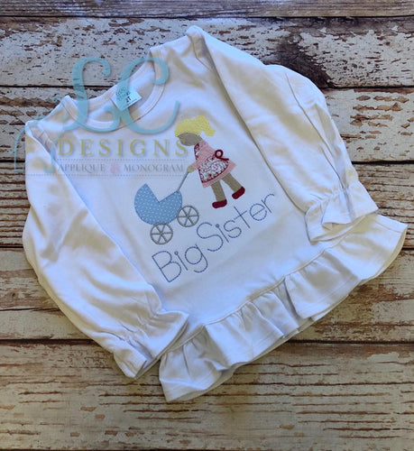 Girl Pushing Stroller Applique Top