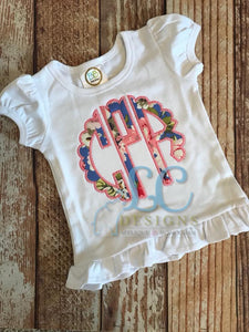 Scallopped Applique Monogram Top