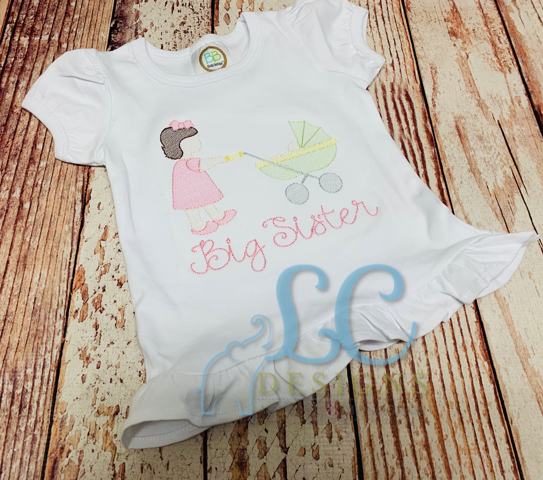 Girl Pushing Carriage Applique Top