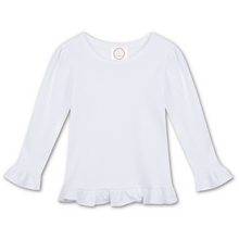 Load image into Gallery viewer, White Ruffle Long Sleeve Tee