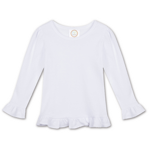White Ruffle Long Sleeve Tee