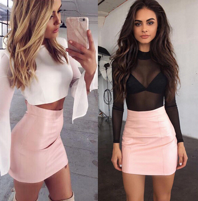 HOT Fashion Women Shiny Leather Skirts Female Solid Bodycon Pencil Short Mini Skirt Woman Zipper High Waist Skirt