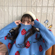 Hot Sale Strawberry Pattern Loose  Sweater