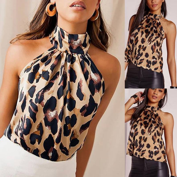 Leopard hanging neck sexy umbilical backless Slim female T-shirt