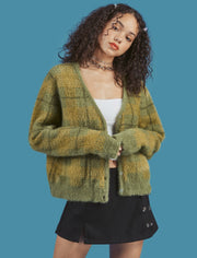 Vintage Velvet Plaid Sweater Cardigan