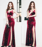 Autumn and winter European and American sexy sling low-cut velvet slits stunning dress dress slim dress