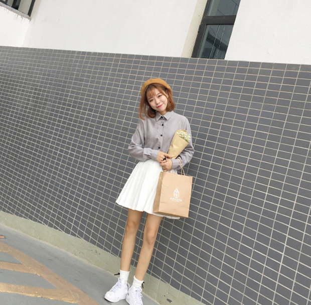 Solid color corduroy shirt women's shirt long-sleeved shirt jacket
