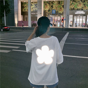 Reflective flower cotton short sleeve t-shirt