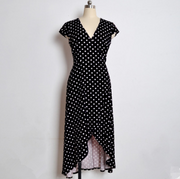 Leisure Vacation Polka Dot Slit Maxi Dress