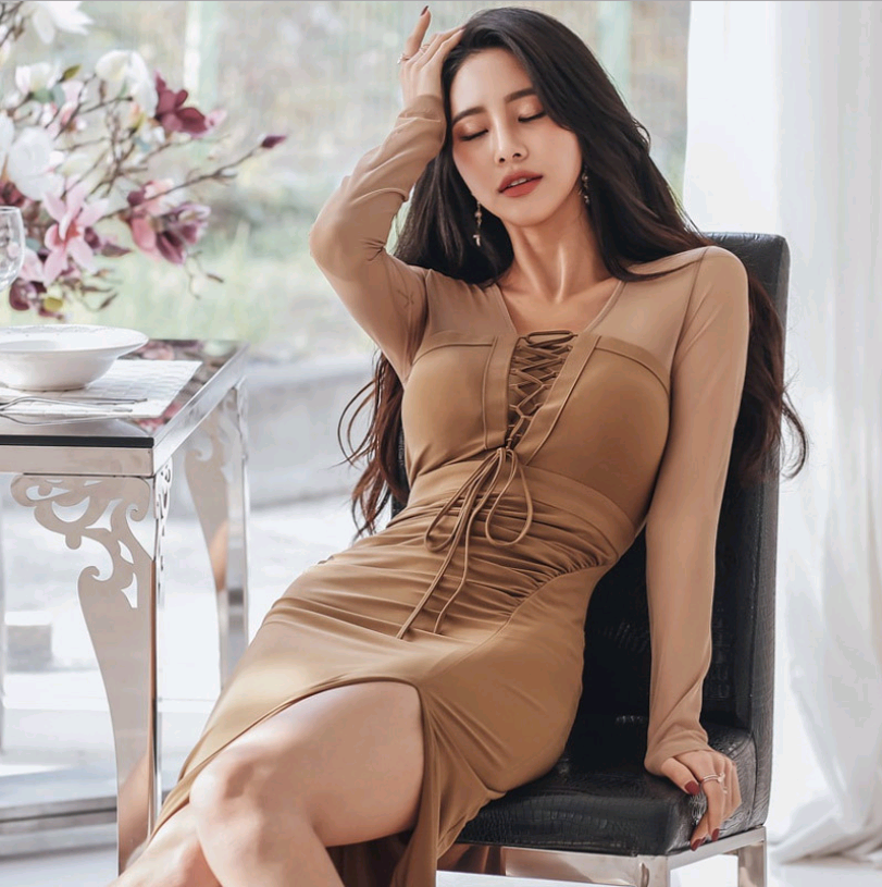 Women Fashion See-through Lace Up Bodycon Dress