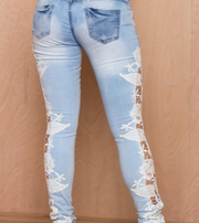 Good quality and foreign female eBay aliexpress lace side stitching slim stretch denim jeans