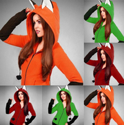 New women's color contrast cute cartoon zipper sweater coat top