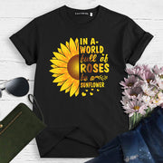 Europe and the United States foreign trade ladies shirt summer sunflower letter printed short-sleeved cotton t-shirt