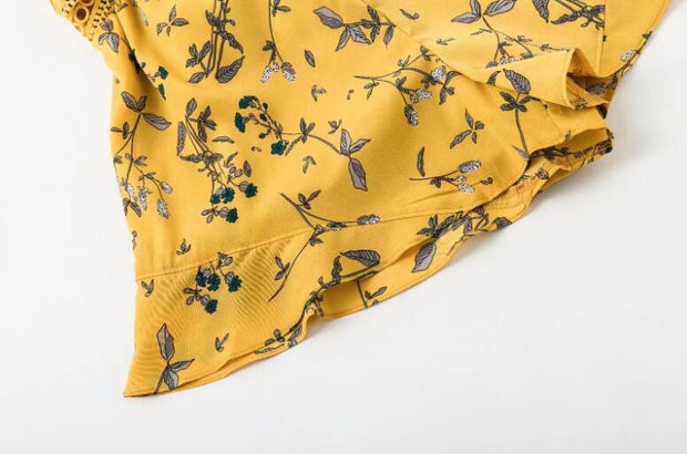 Joker Floral Print Deep V-neck Chiffon Yellow Sling One-piece Pants