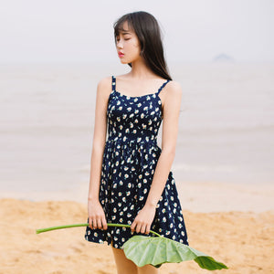 Summer Korean print floral beach skirt waist slim A word skirt strap dress