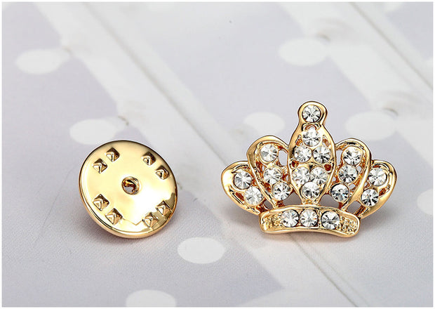 Trendy jewelry Gold/Silver Color crown shape unisex's pin brooch for gift Christmas