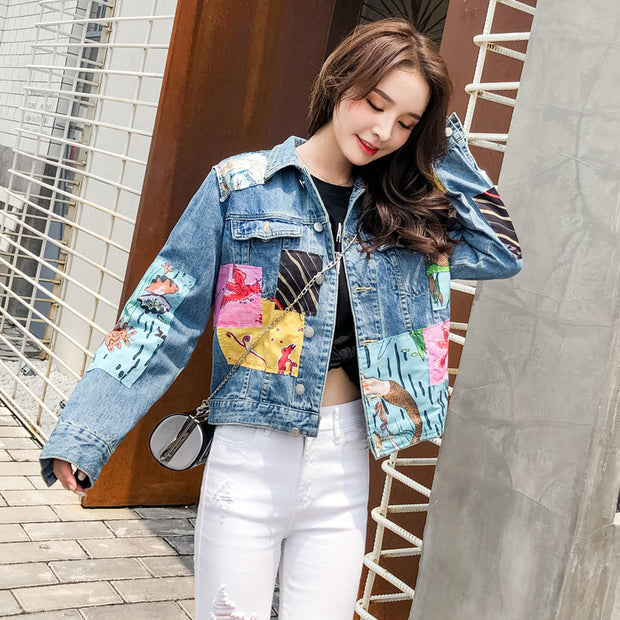 Ins Style Hot Sale Long Sleeve Cropped  Denim Jacket